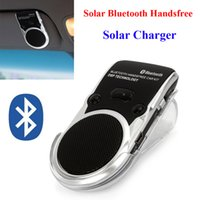 kit de carro bluetooth com energia solar venda por atacado-Solar Powered Bluetooth Car kit mãos livres Bluetooth Speaker no carro viva-voz chamando Speakerphone Solar