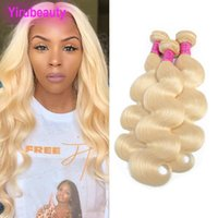 Wholesale full human hair weave extensions resale online - Malaysian Human Hair Blonde Body Wave Bundles Blonde Double Wefts Remy Hair Pieces Full Hair Extensions