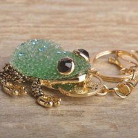 Wholesale frog keychains resale online - Kawaii Animal Green Blue Lucky Toad Keychains Women Present Chinese Wealth Frog Bag Key Chain Key Ring Moon Chaveiro Llavero Jewelry
