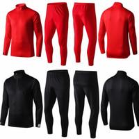 terno de corrida preto vermelho venda por atacado-2019 2020 kits de crianças treino homens vermelho preto jogging ternos conjunto jaqueta de manga longa