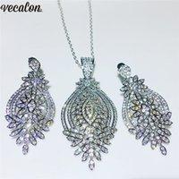 ingrosso collana di diamanti nuziali di nozze-Vecalon Set di gioielli di lusso femminile S925 Sterling Silver Filled Pave Diamond Wedding Engagement orecchini collana per le donne regalo nuziale