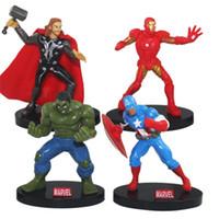 ingrosso set di bambole in silicone-4 pz / set 10 cm Marvel Avengers Infinity War Thanos Hulk Iron Man Capitan America Action Figure Giocattoli bambole