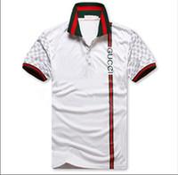 erkek düğmeler için tasarım gömlekler toptan satış-Erkek Tasarımcı T Gömlek Yeni adamın Kısa Kollu Yaka Gömlek Boyun T-shirt Yaz Nefes Düğme Kazak T-shirt Erkekler G8gucci
