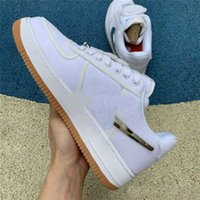 ingrosso scarpe basse uomo-2018 Saldi 10X Forces Low 1 X TRAVIS SCOTTs Cushion One Scarpe da corsa per uomo The Pure White Sports Trainer Women Designer Shoes