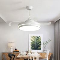 luz de ventilador de madeira venda por atacado-Modern 110 / 220V Levou Ventiladores De Teto Com Luzes Quarto Ventilateur Branco Controle Remoto de madeira Em Casa Indoor Ventilador de Refrigeração Da Lâmpada