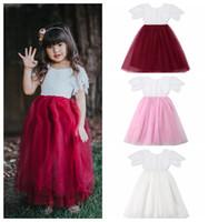 ingrosso vestiti da corto breve delle neonate-Baby Girl's Lace Dress manica corta in bambini Ragazze Party Princess Dresses Toddler Pageant Dancing Tutu abito in pizzo KKA6597