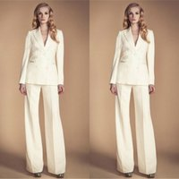 Wholesale groom mothers outfits for sale - Group buy Ivory Women Mother of the Bride Pant Suits With Long Sleeve V Neck Mother of Groom Female Office Uniform Garment Outfit