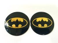 ingrosso batman emblemi-Giallo scuro cavaliere Batman Emblem Decal Stickers Car Hub Cap Rim Covers Badge