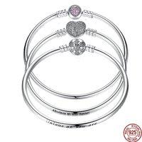 Wholesale 925 unique link chain resale online - Wostu Authentic Sterling Silver Engrave Snowflake Clasp Unique As You Are Chain Bracelet Bangle Fit Diy Jewelry C19021501