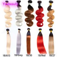 ombre bakire hint saçları toptan satış-Brezilyalı Virgin Saç 1B / 30 1B / 27 1B / 613 İnsan Saç Uzantıları One Paketi Perulu Hint 1B / Kırmızı 1B / Gri İki Sesleri Ombre Rengi Saç Ürünleri