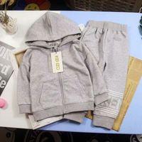 vestes pour garçons achat en gros de-Automne écolière fille lettre un costume de sport enfants mode luxe sweat à capuche cardigan zipper veste / hoodie 100% coton capuche