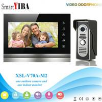 дверной звонок с сенсорным экраном оптовых-SmartYIBA 7 Inch Home Intercom Touch Screen Wired Video Entryphone Night Vision Camera IR-Cut Rainproof Video Doorbell Doorphone
