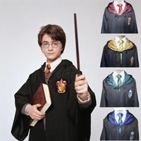 bata gryffindor adulto al por mayor-Harry Potter Robe Cloak Cape Cosplay disfraz niños adultos Harry Potter Robe Cloak Gryffindor Slytherin Ravenclaw Robe cloak LJJA2789