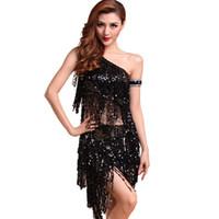 танцевальные платья танго оптовых-Lady Dance Dress Sequins Costume Tango Latin Salsa Dresses