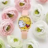 relógios de pulso mais legais venda por atacado-2019 moda legal dos desenhos animados sorriso relógio para crianças meninas couro simples relógios para crianças meninos presente de natal relógio de pulso