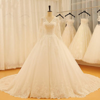 Wholesale actual mermaid wedding dresses for sale - Group buy Actual Photo Vintage V neck Wedding Dresses Chapel Train Lace Long Sleeves Applique Keyhole Back CheapWedding Dress Bridal Gowns New