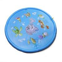 ingrosso tappetini da gioco per bambini esterni-68 pollici Outdoor Sprinkler Pad nuoto anello per bambini neonati Toddlers, ragazzi, ragazze e bambini Splash Play Mat Nuoto Anelli
