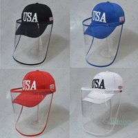Wholesale full face spray mask resale online - Protective Full Face Mask Baseball Cap Donald Trump USA Flags Anti UV Caps Outdoor Anti spray Windproof Masks Adjustable Hats Remove D42808