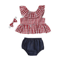 Wholesale suit red bow resale online - Baby Girl Clothes Set Kids Short Suit Summer Girl Striped Square Sleeveless Round Neck Ruffle Top Black Triangle Shorts Headband Piece Set