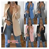 ternos de senhora venda por atacado-Autumn Mulheres magros ocasionais Blazers paletó Moda Office Lady terno preto com bolsos do casaco Negócios entalhado Blazer