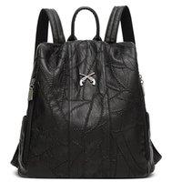 rucksack aus leder für mädchen großhandel-Casual geometrisches Muster Schulranzen für Mädchen Jugend stilvolle gestickte PU-Leder-Rucksack für Frauen Frau Schulranzen