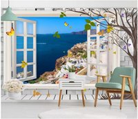 Wholesale beautiful sea painting for sale - Group buy WDBH d wallpaper custom photo Beautiful Aegean Sea Window Scenery painting living room Home decor d wall murals wallpaper for walls d