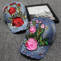 Wholesale lily pinks resale online - 10 Designs Yun Nan Ethnic Fashion Embroidery Caps Beautiful Rose Lily Pailette Beading Sun Visor Baseball Cap Berets