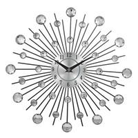 cristaux d'art en métal achat en gros de-Horloge murale en métal décoratif en cristal Sunburst Home Art Decor Diamètre 13 pouces Horloge murale créative