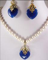ingrosso orecchini blu della collana della perla-gioielli gioielli in oro bianco con perle di giada blu