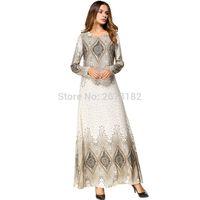 восток модная одежда оптовых-Fashion Flower Print Muslim Dress Women Abaya Middle East Long Robe Gowns Ramadan Dubai Arab Islamic Clothing