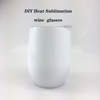 Wholesale 12oz cups for sale - Group buy DIY Heat Sublimation oz Wine tumbler Stainless Steel Wine Glasses Egg Cups Stemless Wine Glasses with Lid