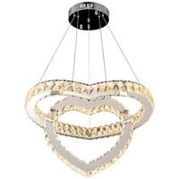 подвесной светильник оптовых-Современное освещение 2 кольца Люстра Led Хрустальный потолочный светильник Подвесной светильник блеск Большие кристаллы В форме сердца Светодиодная лампа Подвесные светильники