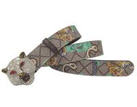Wholesale western men belts for sale - Group buy Western Rhinestone Leopard Head Buckle Tiger Print Leather Men Belt Gift With Jeans