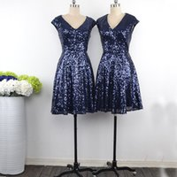 Wholesale stylish short sleeve evening dresses for sale - Group buy Glittering Navy Sequin Short Bridesmaid Dresses V neck With Sleeves Country Stylish Cheap Wedding Guest Evening Prom Formal party Dress