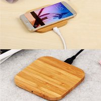bambus-ladegerät großhandel-Qi Certified Fast Square Bambus Wireless Charger Holz Pad Kompatibel für Samsung Galaxy iPhone