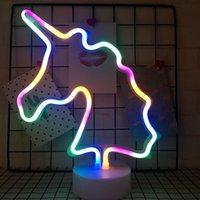 indoor neonlichter großhandel-Batterry Art Regenbogen-LED Neonlicht-Zeichen Urlaub Xmas Party Hochzeit Dekorationen Kinderzimmer Wohnkultur Flamingo Mond Einhorn Neon-Lampe