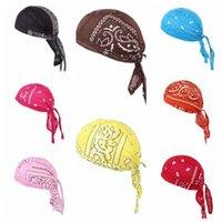 verstellbare baumwollstirnbänder großhandel-Radfahren Bandana-Schädel-Kappe Beanie Leichte Einstellbare Cotton Biker Hats Hood Stirnband Kopftuch