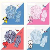 pijamas dos desenhos animados dos homens venda por atacado-BTS BT21 pyjama set pijama pijama pijama versão dos desenhos animados suga Harajuku pijama de manga longa camisola das mulheres dos homens bedgown