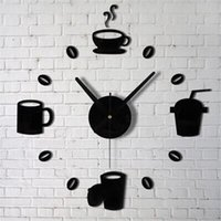Wholesale kitchen wall coffee designs resale online - 2017 Coffee Cups Kitchen Wall Art Mirror Clock Modern Design Home Decoration Decor Wall Sticker For Living Room M913
