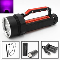 Wholesale 26650 flashlight battery resale online - New Ultra Violet Diving Flashlight UV LED Waterproof nm lumens Purple Light Torch Linterna With Battery Charger
