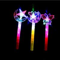 peri sopası değnek toptan satış-Sihirli Peri Sopa Renkli Xingyue Sihirli Değnek Buz Prenses Büyülü Taç Flaş Sopa Çocuk LED Oyuncaklar yaklaşık 40 cm 5 stilleri