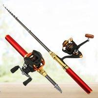 stifträder großhandel-Outdoor Mini Angelrute Tragbare Tasche Stiftform Gefaltete Angelruten Mit Reel Wheel Rod Pen 4 Farbe