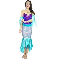 Wholesale free romantic sexy dresses resale online - Sexy Adult Mermaid Tail Costumes Halloween Fancy Dress Romantic Beauty Dress Sea Maid Cosplay Party
