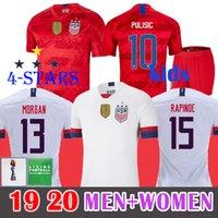 ingrosso usa calcio xxl-4 stelle 2019 Coppa del mondo femminile USA Soccer Jersey RAPINOE PULISIC DEMPSEY BRADLEY MORGAN Football WOOD Uniform Stati Uniti UOMO Bambini Camicie