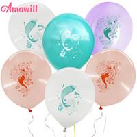 globos de color rosa púrpura blanco al por mayor-Amawill 10 unids Mermaid Print Pink Purple Latex Balloons White Blue Mermaid Tail Impresión para Baby Shower Favores de la fiesta de cumpleaños 6D