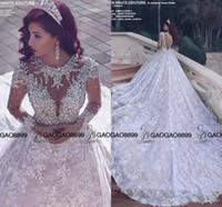 vestido floral con cuentas al por mayor-2019 increíble brillante de cristal con cuentas de encaje de manga larga vestidos de novia de tren real de Oriente Medio árabe bola de lujo vestido de novia