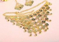 münzen armbänder frauen großhandel-Frauen Bauchtanz Metall Münze Schmuck Set Bollywood Kostüm Zubehör Gold Silber Halskette Armband Ohrring