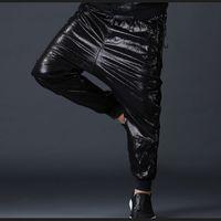 sahte kot toptan satış-Yan İpli Erkekler Moda Joggers PU Faux Deri Harem Pantolon Kot Rahat Sokak Dans Moto Biker DJ Kaya Slacks Pantolon