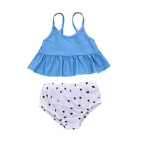 Wholesale trading hair resale online - New Childrens Swimming Suit for Foreign Trade in A Hair Delivery Suit for European and American Girls with Loving Suspenders and Shorts