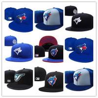 ingrosso cappello blu cappello-New Hot Toronto sul campo Baseball Fitted Hats Sport Team Logo Ricamo blue jays Full Closed Caps